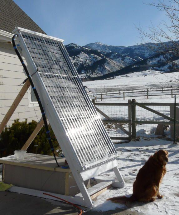 Solar collector using pex tubing green and creative for Diy solar collector