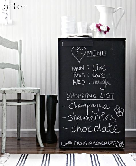 Chalkboard paint to make a mini-frig part of the decor.  I'm guessing contact paper, and other treatments would work too.