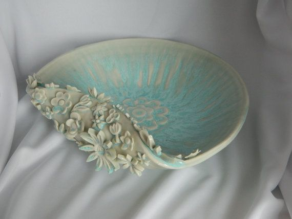 Handmade Pottery Flower and Petal Bowl Light Blue  http://www.etsy.com/shop/PotteryGrove http://www.thepotterygrove.com
