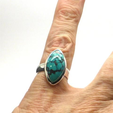 Ring Tibetan Turquoise Teardrop Marquise | 925 Sterling Silver | US Size 7 | Crystal Heart Melbourne Australia since 1986
