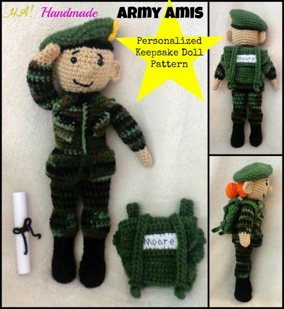 """**This listing is for a CROCHET PATTERN ONLY**  The Army Amis pattern will work up girl and boy dolls that are approx. 13"""" (33cm) tall. They"""