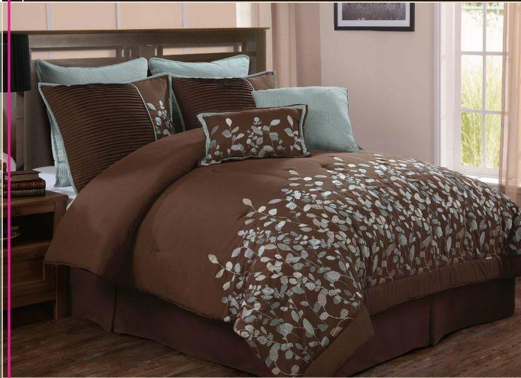 Luxury Home 8 Piece Leaves Comforter Set Chocolate King Bedding Bath Master