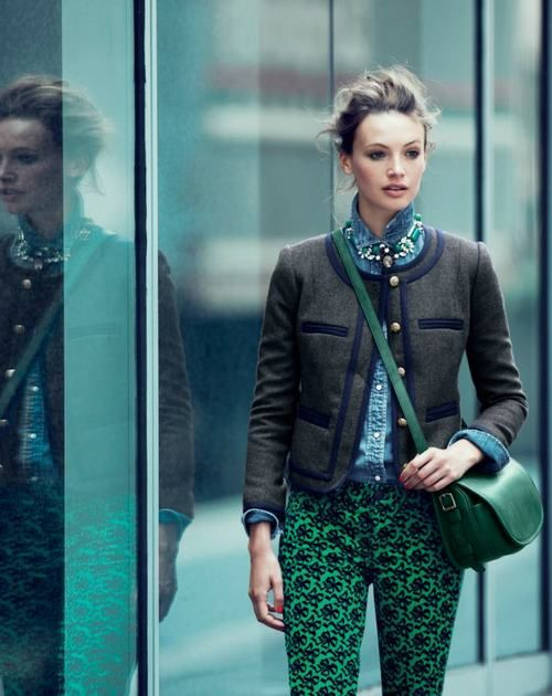 Quilted Jacket + Blue top + green pants