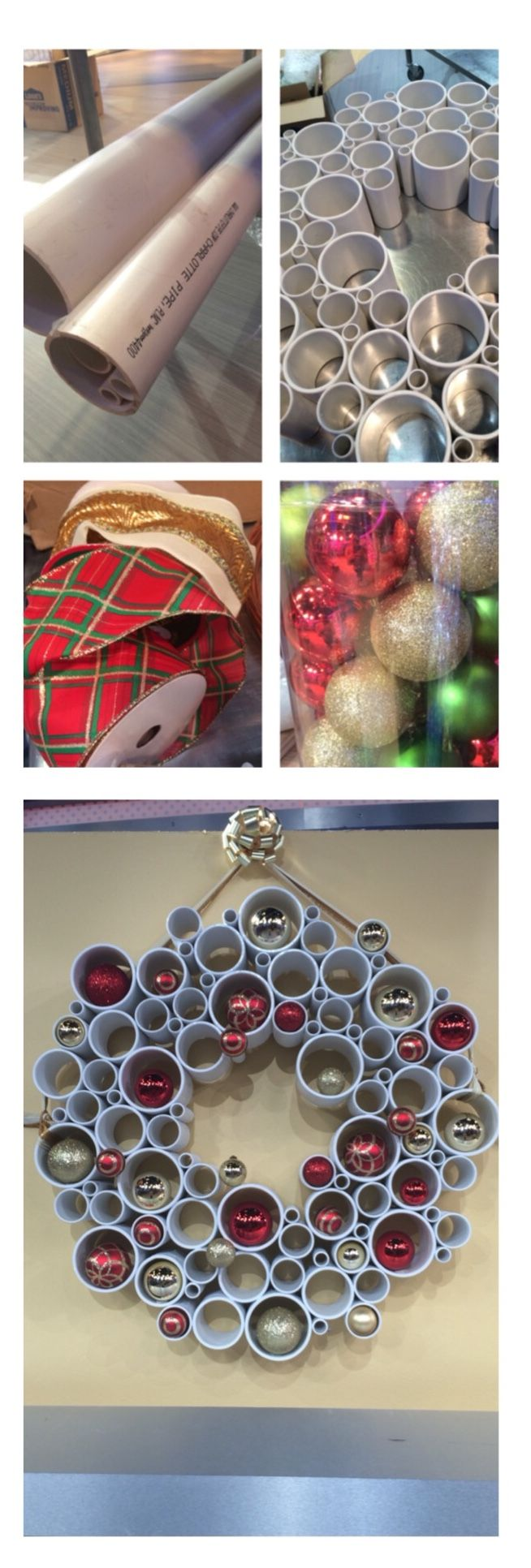 A wreath made out of PVC pipe - how modern, and inexpensive!  Sabrina Soto's step by step directions are here: http://abcn.ws/1scnsf2