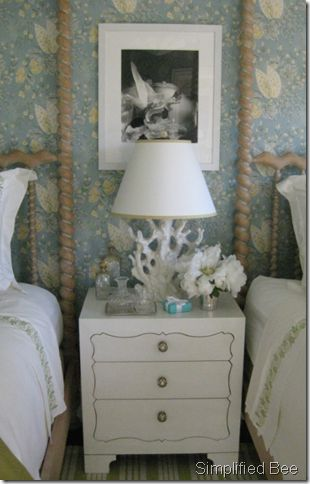 Suzanne Tucker bedroom side table coral lamp, Michael Taylor beds originally made for Nan Kempner