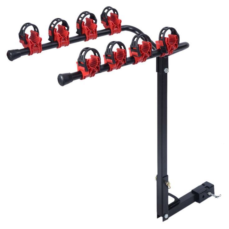 """Super Deal Bike Rack 4 Bicycle Hitch Mount Carrier Car Truck w/2-Inch Receiver Swing Away Design Auto SUV. Heavy Duty Steel Construction for Durability, Thermoplastic Rubber. Fits 2"""" common receiver hitch size. Quick attach bolt install easily. Reflective red end caps increase safety. Fits most bicycle frames with individual cradles, Capacity: 99lb / 45kg."""