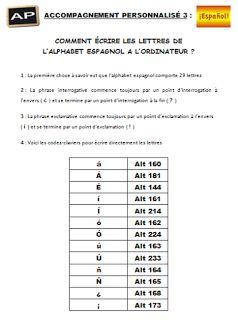Sandrine nous propose diverses fiches de méthode :   Comment préparer un contrôle :     Comment écrire les lettres espagnoles sur l'ordinate...