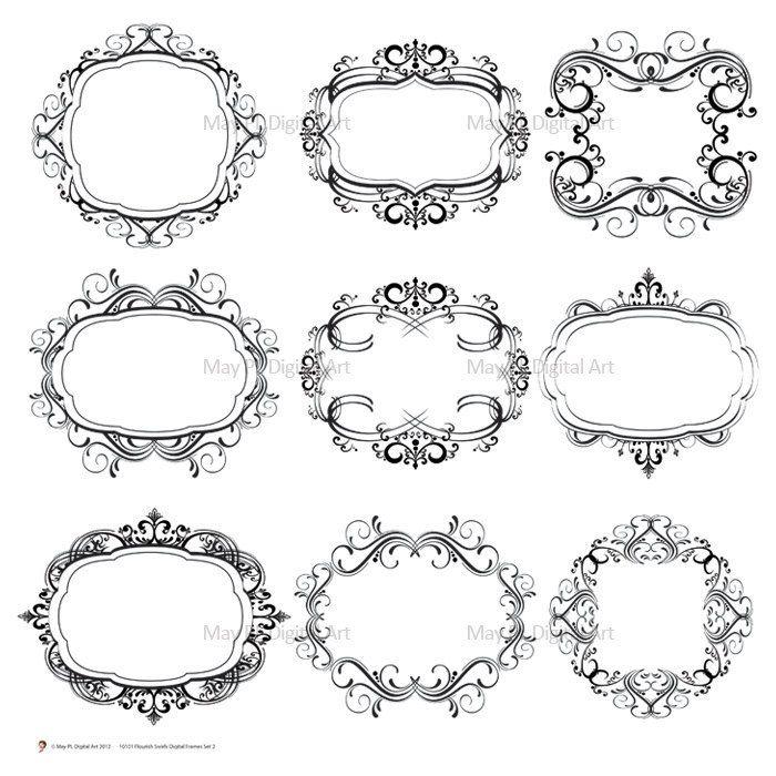 Digital monogram frame flourish swirl clip art digital for Classic border design