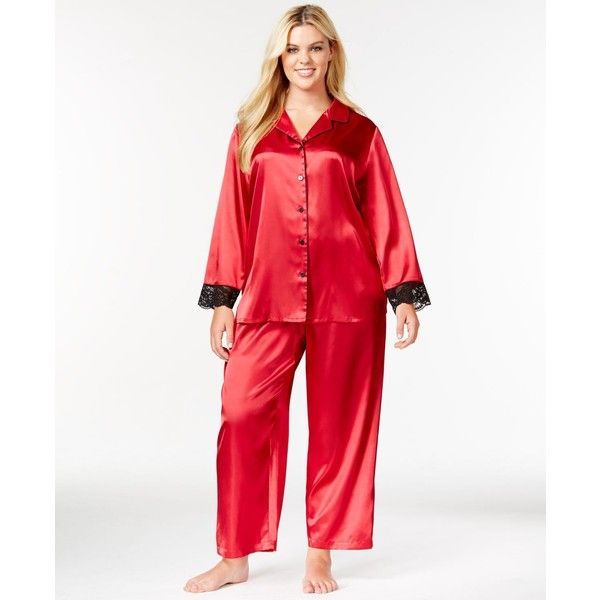 Morgan Taylor Plus Size Satin Long Sleeve Top and Pajama Pant Set ($21) ❤ liked on Polyvore featuring plus size fashion, plus size clothing, plus size intimates, plus size sleepwear, plus size pajamas, new royal red, plus size satin sleepwear, satin pajamas, red satin pajamas e plus size womens sleepwear