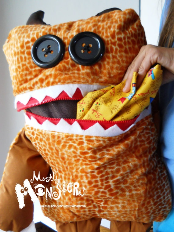 GIANT Cuddle Monster Pillow Pal GEOFF zipper by MostlyMonstersCV, $40.00