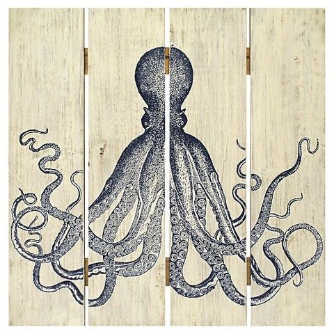 Plank art octopus home decor wall decor from target for the home pinterest home the o Target blue home decor