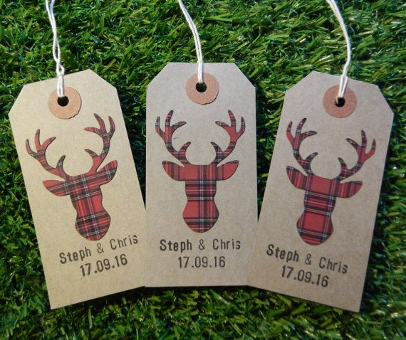 50 Vintage Red Wedding Favour Tags  Rustic by WhimsicalFurnishings
