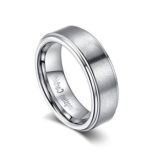 メンズ レディース タングステン リング 指輪,幅広 研磨 平打ち ヘアライン加工 結婚指輪,シルバー(銀) KZUN…