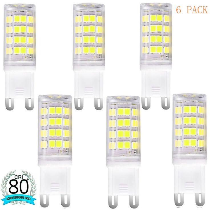 G9 LED Bulb 40W Equivalent Daylight White 6000K, 360 degree Omni Beam Angle, G9 Base Non-dimmable LED Light Bulbs for Home Lighting (Pack of 6) (Daylight White)