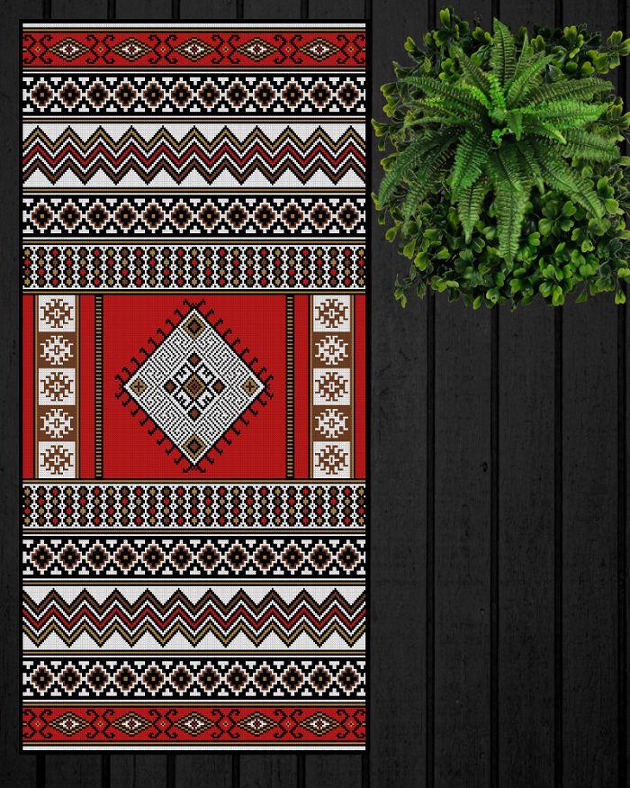 ✄ PATRON PUNTO CRUZ EN VENTA  Alfombra Inspiración Mapuche  Para bordar con Lanas Gruesas.  201 puntos de ancho  381 puntos de largo.  Medidas aprox. si se borda en esterilla gruesa y lanas gruesas:   84 cm de ancho  1,60 Mt de largo  Utiliza 5 colores . http://puntocruzandino.weebly.com/