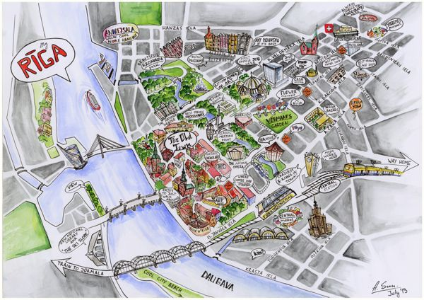 Riga / Mapping My City by Anna Sundukova, via Behance
