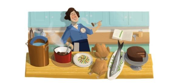 Julia Child: Doodle per il 100.o anniversario dalla nascita della prima cuoca in tv