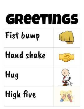 Morning greeting poster Students greet one another…
