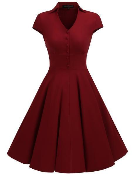 LaceShe feminino curto retro elegante bainha vestido de festa   – فساتين