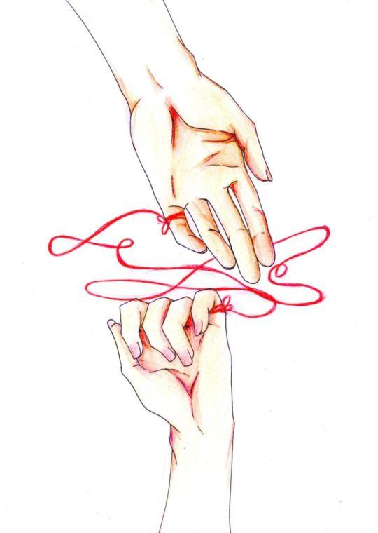 """E' il FILO ROSSO 赤い糸 (akai ito) del DESTINO della tradizione giapponese che unisce due persone indissolubilmente e che, prima o poi, le fara' incontrare.  Nasciamo cosi', con un filo rosso annodato al mignolo che ci lega alla persona che diventera' per noi quella """"amata"""", quella giusta. Per quante traversie si possano incontrare nella vita prima o poi quella persona verra' a noi. E noi a quella persona."""