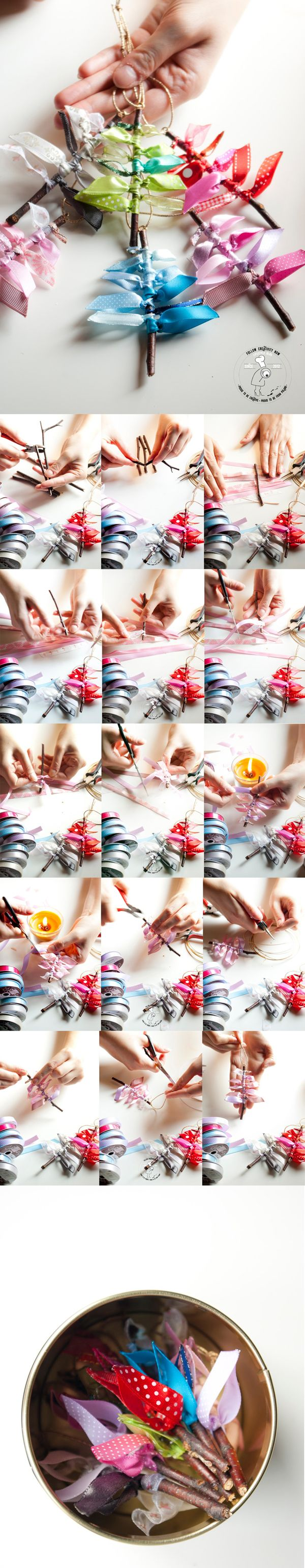 DIY Christmas tree decoration made of ribbons and birch twigs - tutorial - eco Christmas ornaments