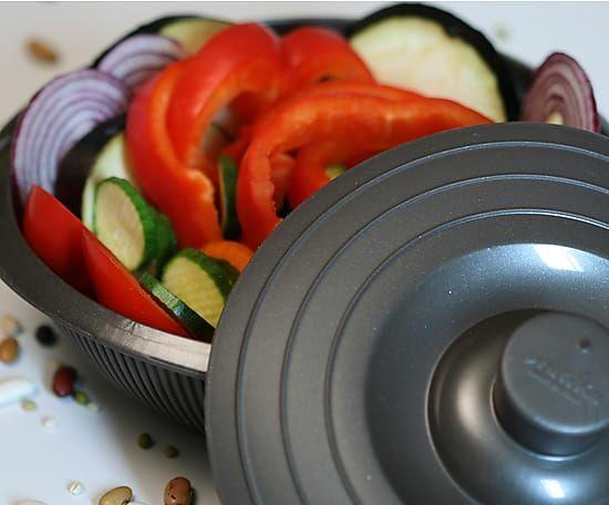 Cocotte de silicona para cocinar al vapor gris 18 5 cm - Recipientes de silicona para cocinar al vapor ...