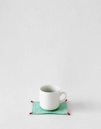 모시 컵 매트 (민트 - 레드)