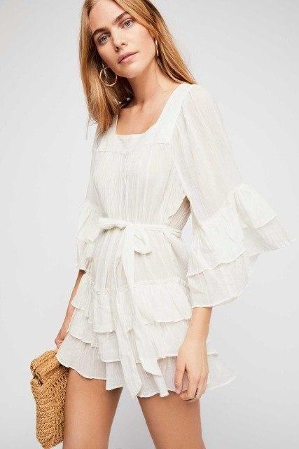 efc102d657da 2018 Women's Cotton Square Collar Ruffles Loose Dress | Products ...