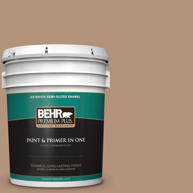 BEHR PREMIUM PLUS 5 gal. #hdc-FL14-6 Gingerbread Latte Semi-Gloss Enamel Exterior Paint