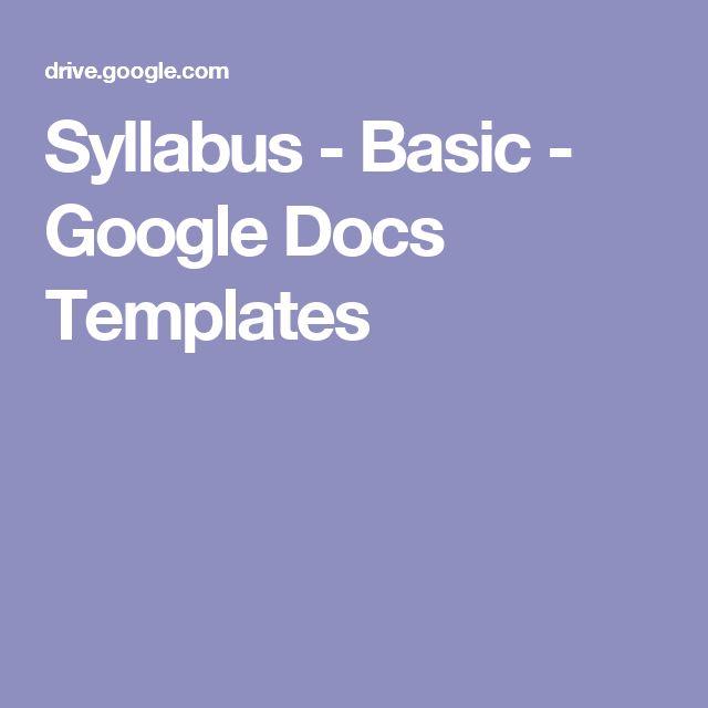 Syllabus - Basic - Google Docs Templates | Teaching Tools ...
