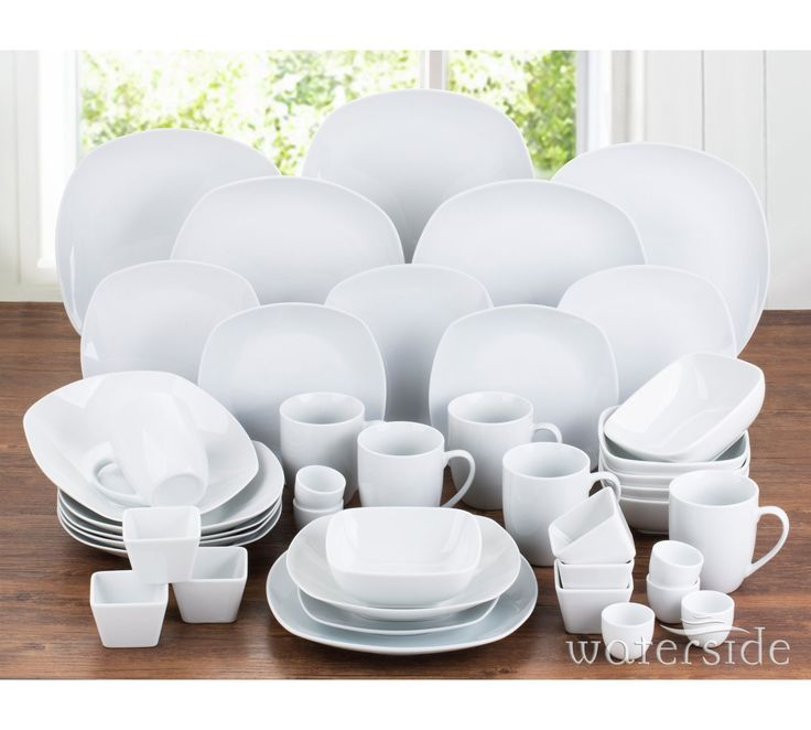 Buy Waterside 42 Piece Porcelain Square Dinner Set - White at Argos.co.uk, visit Argos.co.uk to shop online for Crockery, Tableware, Cooking, dining and kitchen equipment, Home and garden