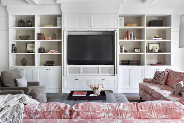 flat screen flanked by built ins