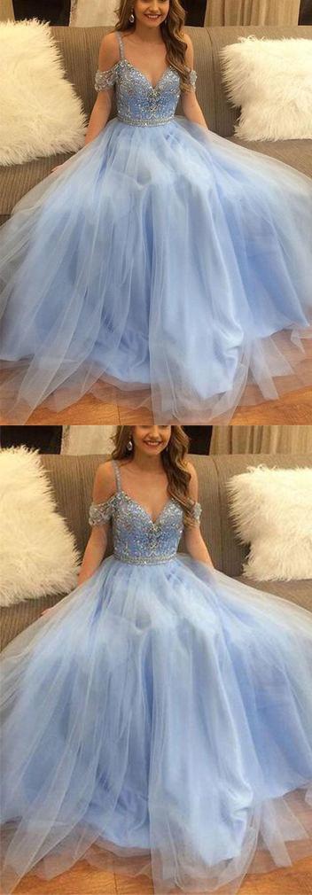 Stylish A-Line V-Neck Off-the-Shoulder Blue Tulle Long Evening Dresses UK with Beading,#vneck,#lightblue,#eveningdress,#offtheshoulder