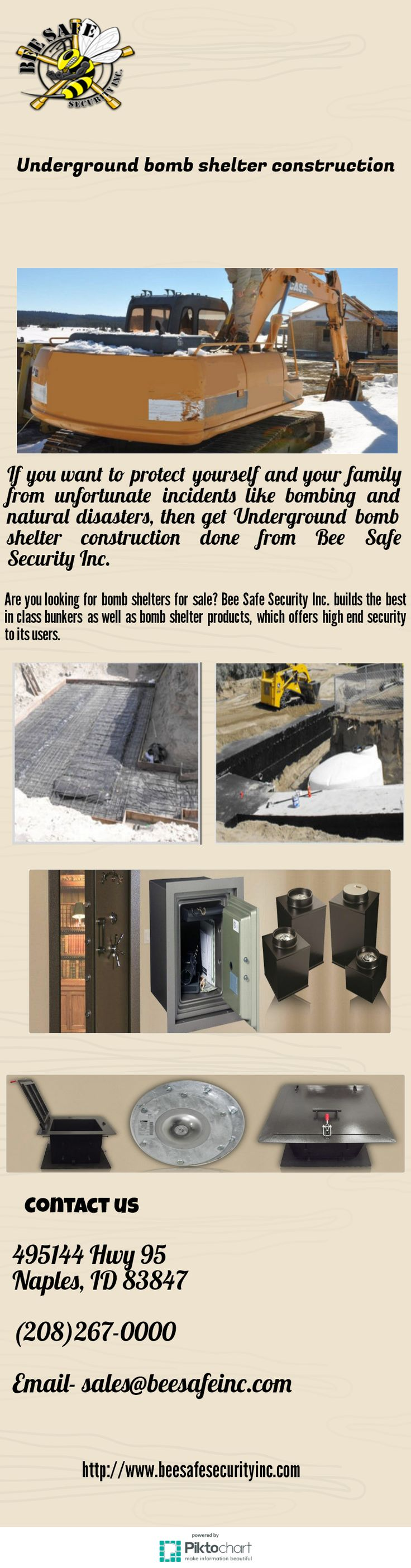 Looking for best underground shelters for sale? If you want to get these shelters, you should contact to Bee Safe Security Inc. They provide best solutions to get safe rooms, bomb shelters and other kind of underground shelters at affordable cost.visit here http://www.beesafesecurityinc.com/