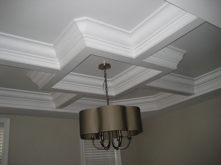 "Waffle Ceiling: Dining Room   7"" Georgian crown moulding installed within each box.  Awesome look!   www.canadiantrim.ca"