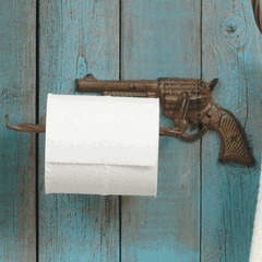 Metal Pistol Toilet Paper Holder - CLEARANCE only $8.95 -- you've GOT to be kidding!