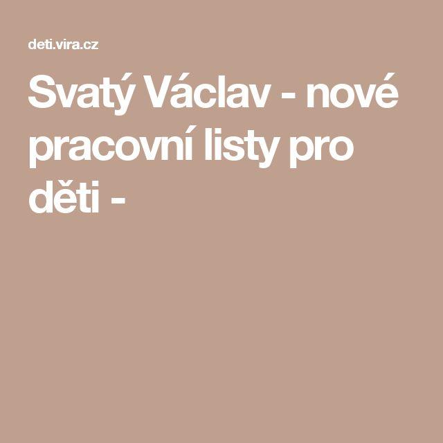 Svatý Václav - nové pracovní listy pro děti -