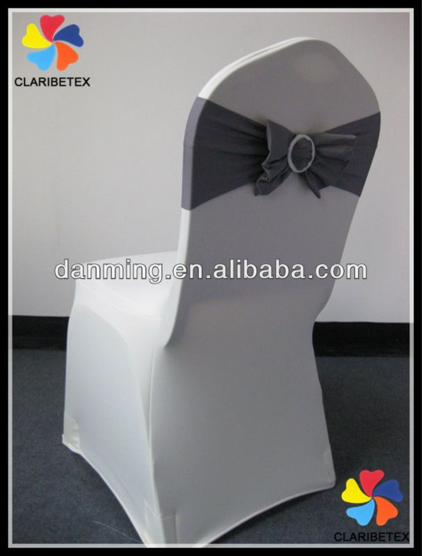 new arrival dark gray silver spandex chair bow for wedding chair cover