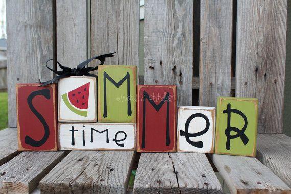 Summer: Watermelon Wood, Wood Blocks, Summer Watermelon, Wooden Block, Summer Time