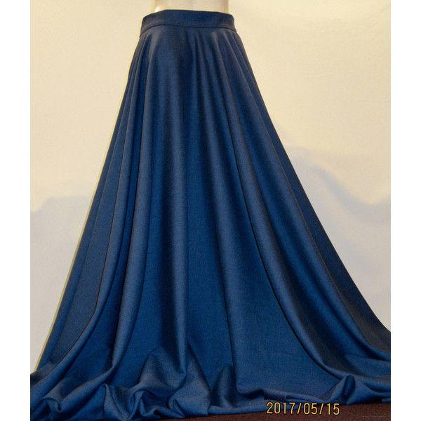 Blue Color Full Circle High Waist Skirt~Pure Wool Maxi Skirt~Ankle... (93 AUD) ❤ liked on Polyvore featuring skirts, blue, women's clothing, full circle skirt, long skater skirt, knee length skater skirt, full length slip and long flared skirt