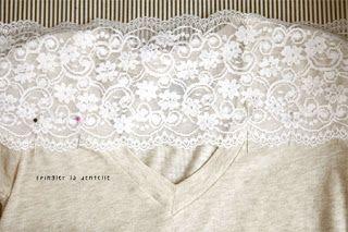 Customizar Camiseta com Renda | Abadá Customizado ~ Arte De Fazer | Decoração e Artesanato