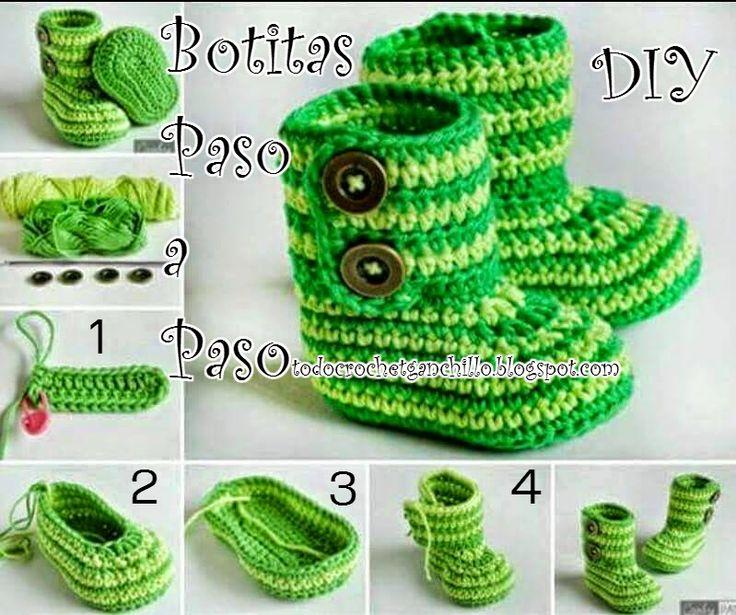 Paso a paso de Botitas Crochet | Todo crochet