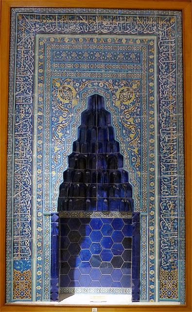"""This tile mihrap, """"comes from the Imaret of Ibrahim Bey II from Karaman. The edifice was finished in 1432 and is regarded as the most important monument of the Karamanoğlu State (1256-1483). Its tiles are executed in the cuerda seca technique."""" Istanbul, Turkey. From A Sometime Architourist: December 2013"""