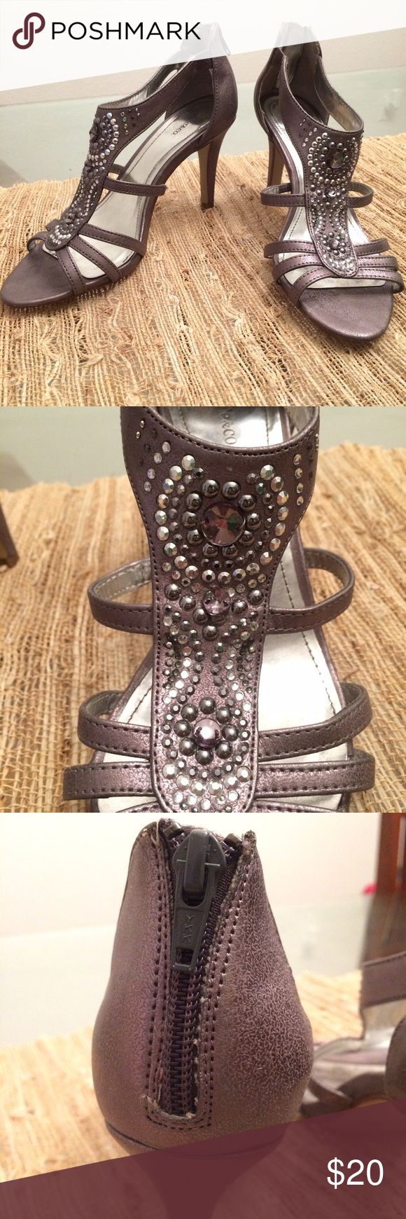 Grey/Silver Heels Gorgeous beading, zip up the back for a snug fit. Fit more like a 7 or 7.5 Style & Co Shoes Heels