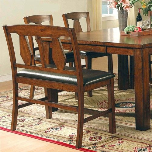 Steve Silver Lakewood Transitional Splat Backrest Dining Bench Seating Furniture Dining Sets