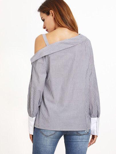 Black White Striped Contrast Cuff Asymmetric Cold Shoulder Blouse