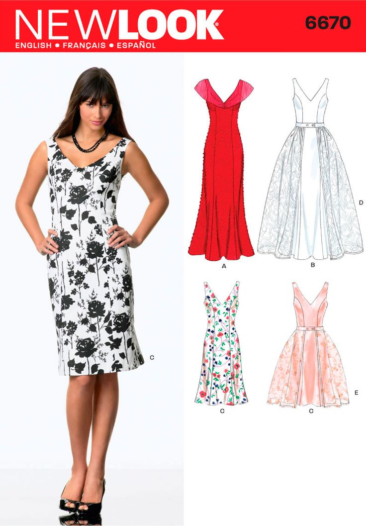 Womens Dress and Detachable Ove Pattern 6670 New Look Patterns