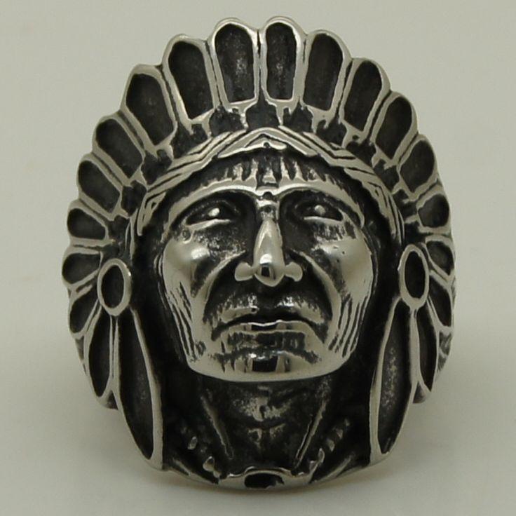 Прохладный Индейского племени вождь перо череп из нержавеющей стали 316L кольцо