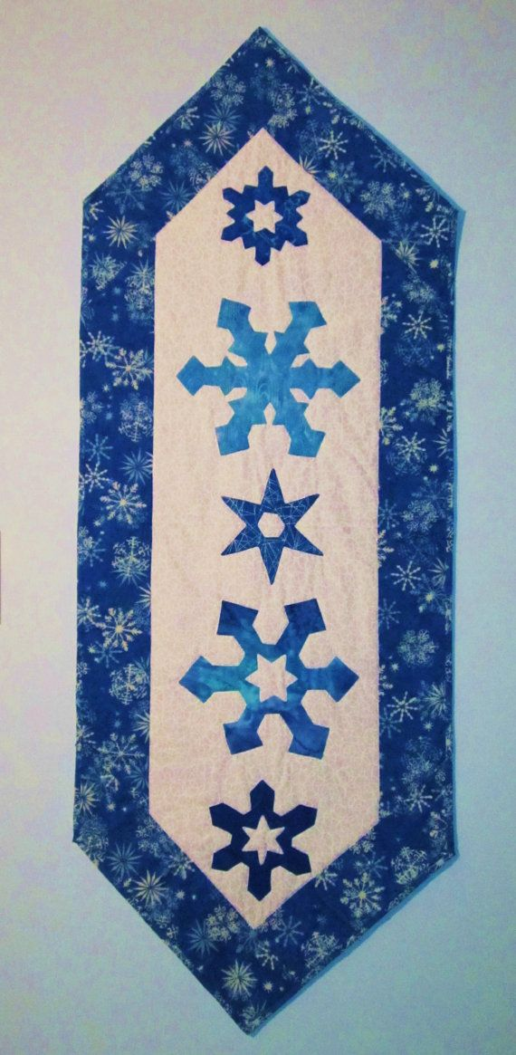 Quilted Winter Snowflake Table Runner Cobalt Blue By