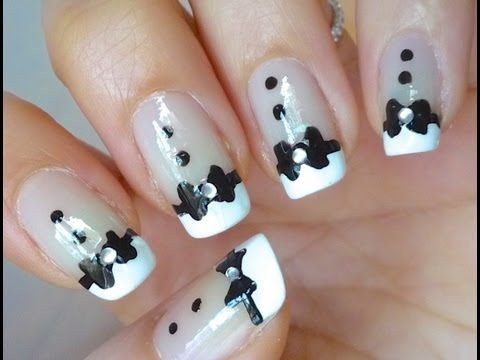Tuxedo Nails - Nail art- a little more girlie take on the tux nails